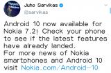 諾基亞7.2可升級Android10系統