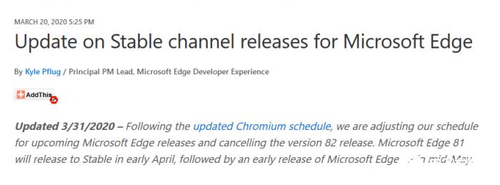 微软宣布Edge浏览器同步跟进跳过82版本 稳定通道更新将会中止