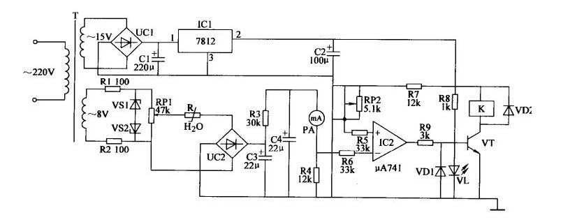 一款自动控制的全自动加湿器电路图