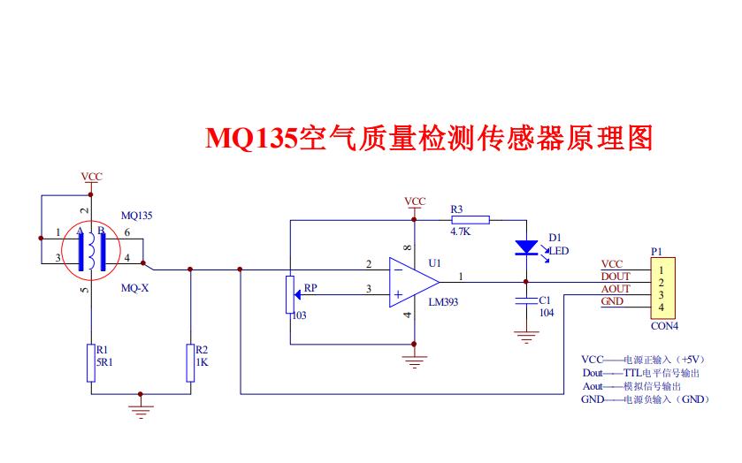 MQ135空气质量检测传感器电路原理图