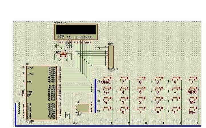 LCD12864显示计算器键盘按键实验的仿真电路图免费下载