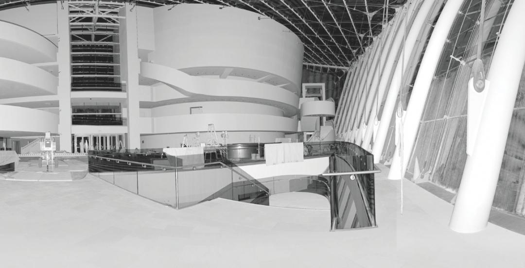 3D激光扫描仪艺术剧院中庭的3D激光扫描短时间以...