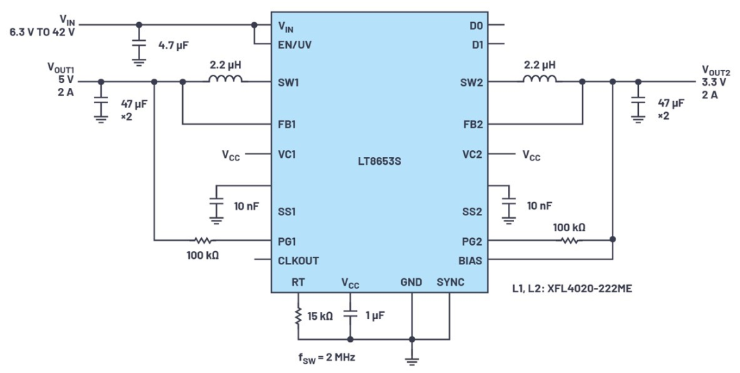 ADI LT8653S具有低EMI、高效率的双通...