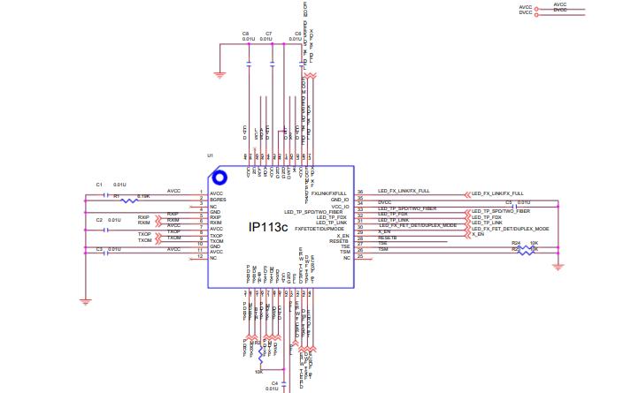IP113C光纤收发器的电路图免费下载