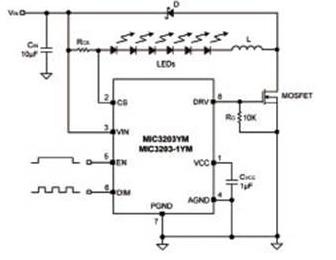 基于MIC3203驱动器的LED电路设计