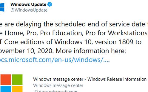 Windows 10 Version 1809支持时间延长