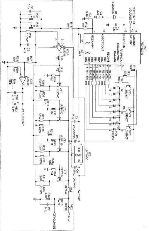 恒流型电子负载的电路图