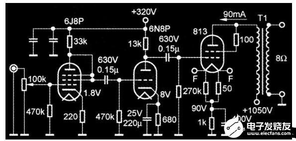 813單端甲類放大電路圖詳解