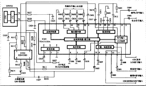 基于TDA7313DA和KID4558DI2芯片实现的总线控制多路音源电路