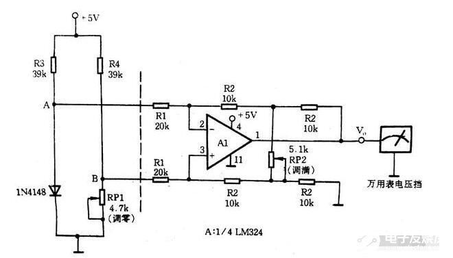 用于萬用表直觀測量的電橋放大電路