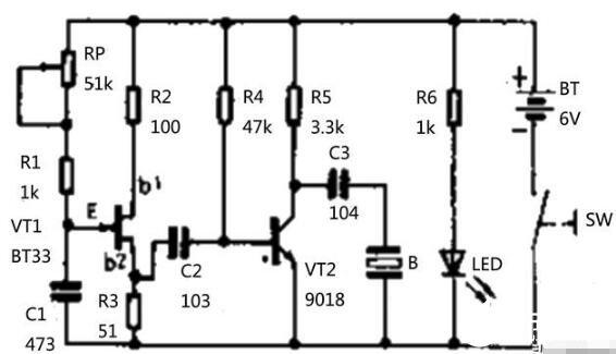 单结晶体管BT33构成的电子驱蚊器电路图