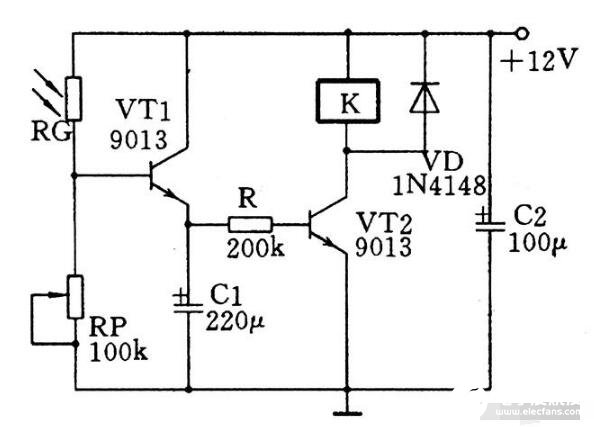 實用的光控延時開關電路圖