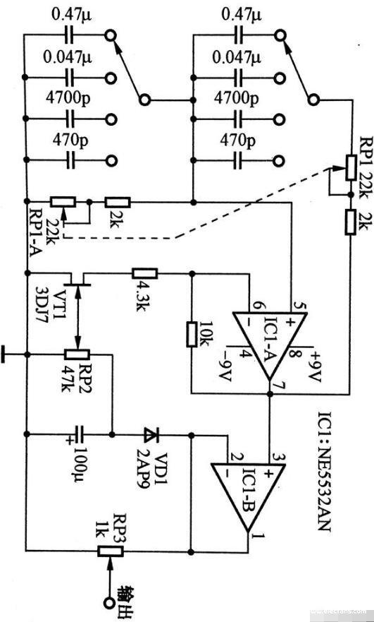 稳幅低频信号发射器电路图