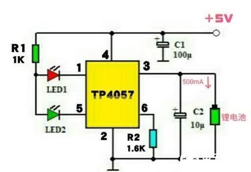 TP4057构成的锂电池充电电路