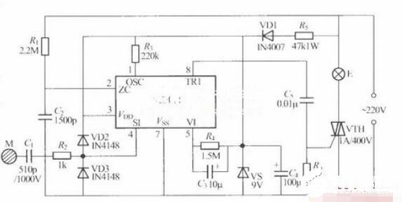SC3071/SC3071X触摸式步进调光灯电路图