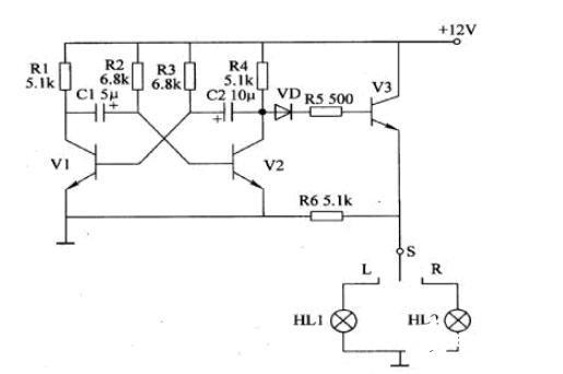 分立元件闪光器电路图_分立元件的LED闪光器电路图