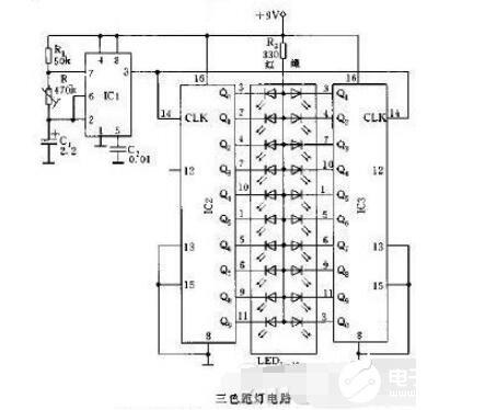 LED循环跑马灯电路