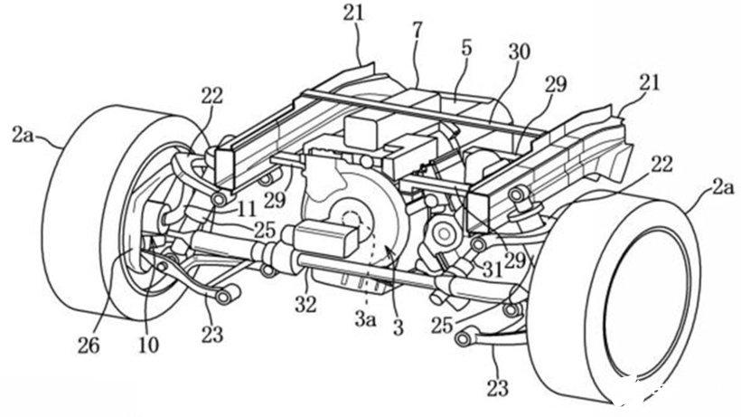 马自达利用电容器驱动的轮毂电机专利