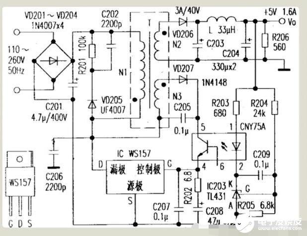 WS157开关型稳压IC的应用电路图