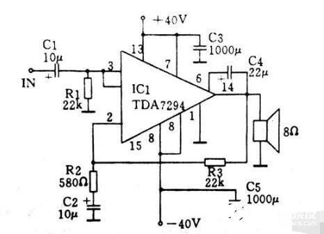 简单的TDA7294构成的100瓦功放电路