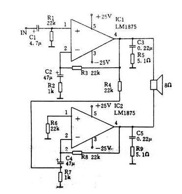 采用LM1875構成的80瓦BTL功放電路