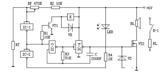 采用熱敏電阻構成的超溫報警器電路