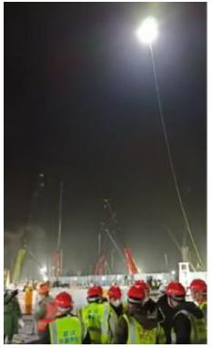 极客桥无人机照亮武汉火神山医院施工现场的夜空
