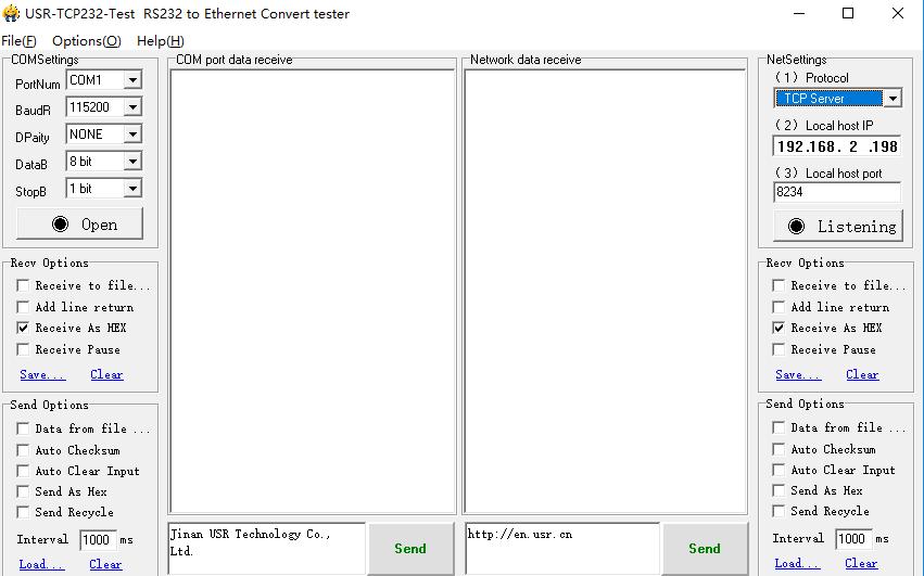 USR-TCP232测试RS232到以太网转换测试仪软件免费下载