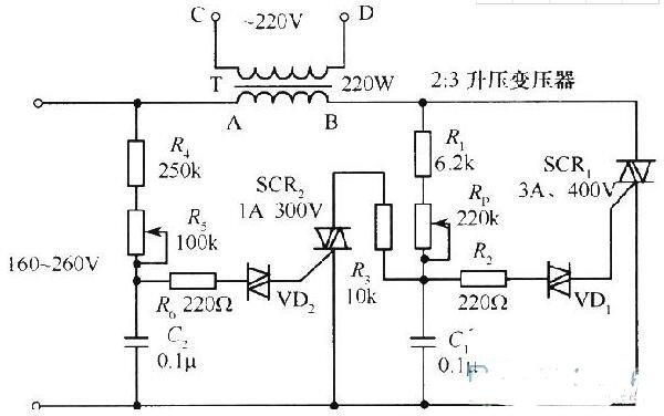 220V可控硅交流穩壓器電路