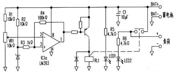 鉛酸電池充放電保護電路圖