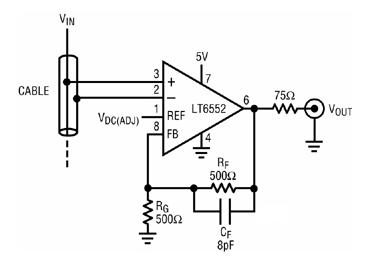 采用高CMRR差分放大器消除应用中视频信号的背景...