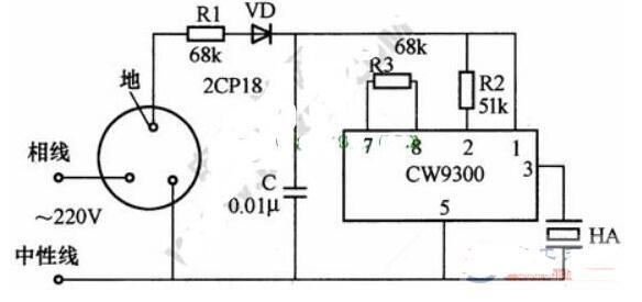 漏電報警器插座電路圖