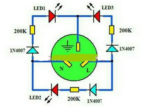 电源插座检测器电路原理图