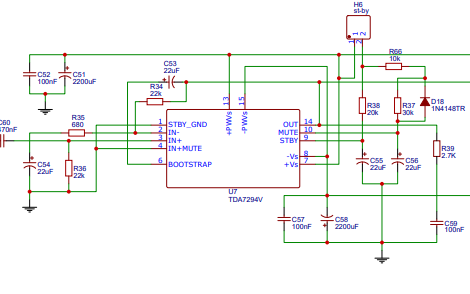 TDA7294音頻功放芯片的純后級電路原理圖免費下載
