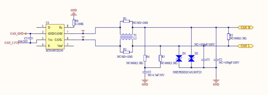 CAN收发器芯片典型应用电路