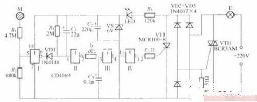 采用數字電路的觸摸式延遲燈電路