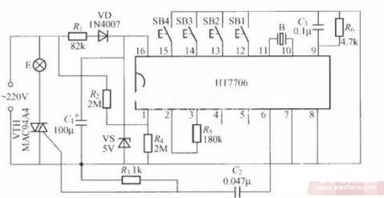 基于HT7706的多功能調光燈電路圖