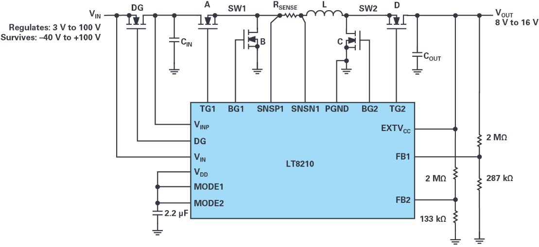 4開關降壓-升壓控制器,具備直通功能,可以消除開關噪聲