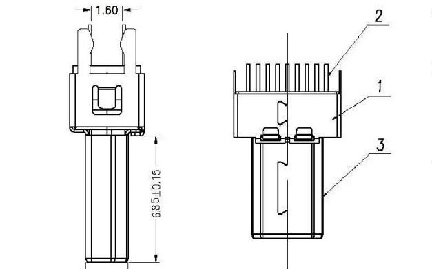公插夾標板式HDMI連接器的規格原理圖免費下載
