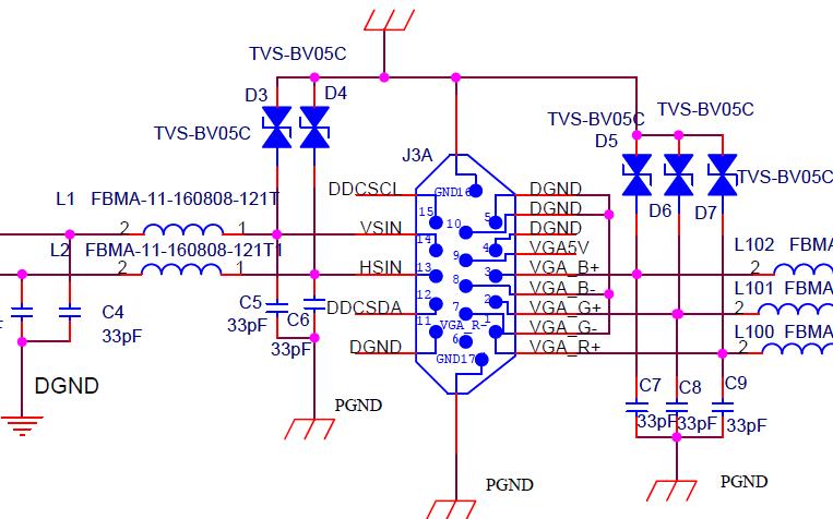 VGA接口EMC設計標準電路原理圖免費下載