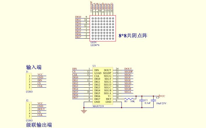 MAX7219的數據手冊和點陣原理圖及驅動程序免費下載