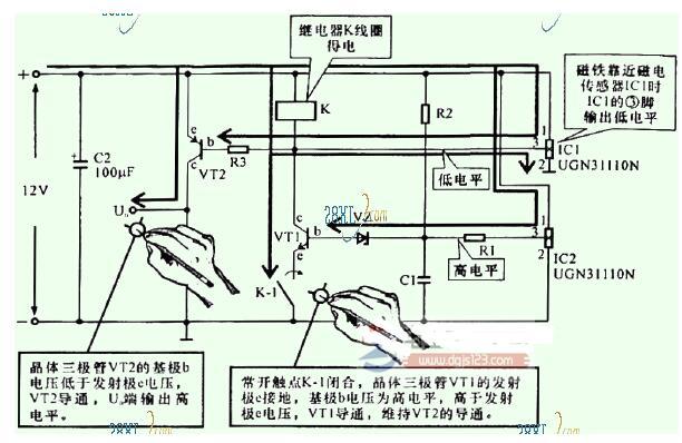 磁鐵靠近磁電傳感器IC1時的狀態分析