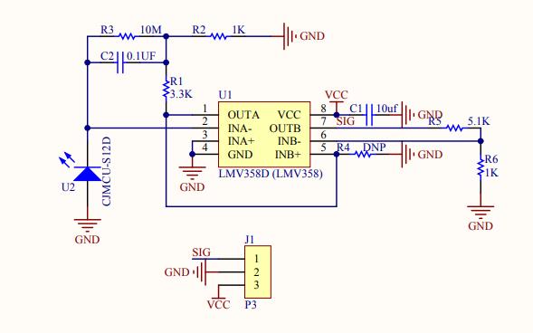 CJMCU-S12D紫外線強度模塊芯片的原理圖免費下載
