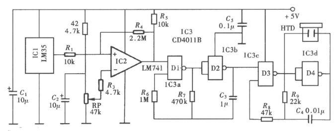 超溫監測警示電路圖_超溫監測無線電警示電路圖