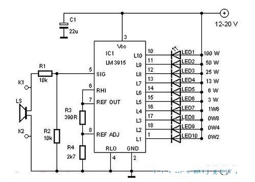 基于LM3915的音量電平指示器電路