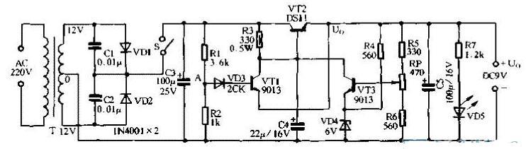 兩款短路保護的穩壓電源電路圖詳解