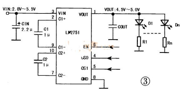 白光LED驱动芯片的典型应用电路