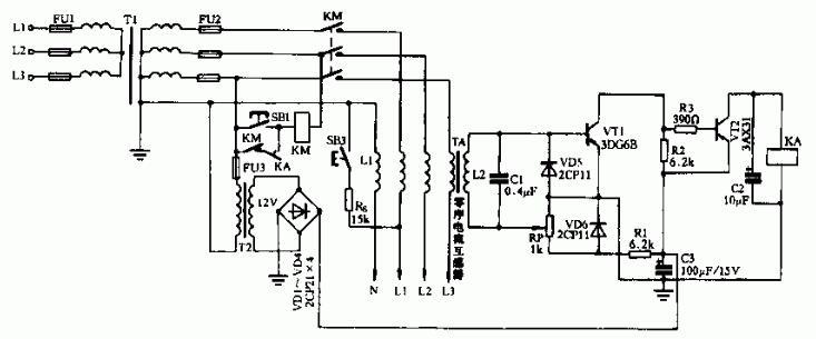 電壓電流型低壓觸電保安器電路圖