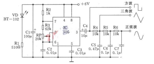 多种波形发生器电路图_低频多种波形发生器电路图