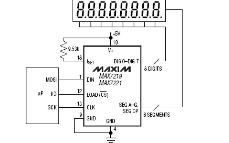 MAX7219和MAX7221串行接口LED显示驱动器的数据手册免费下载